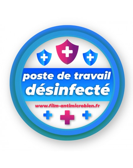 Stickers poste de travail désinfecté repositionnable Ecologique ! Film Antimicrobien Virus Protect