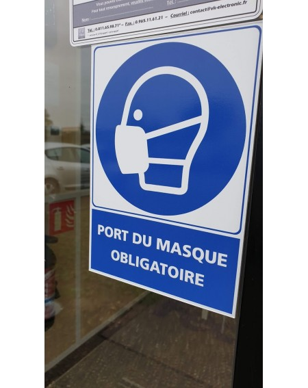 Port du masque obligatoire en entreprise Anti Covid Encre Végétal Safe Touch plus film antimicrobien Virus Protect