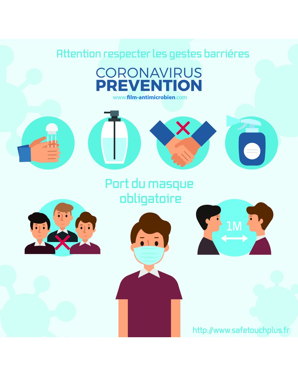 Stickers prévention et gestes Anti Coronavirus Covid19