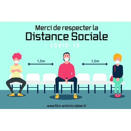 Stickers Distanciation sociale Made in France ! Zéro Solvant ! Anti Covid19