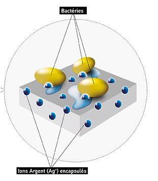 fonctionnement du pure zone avec ions argent et bactéries