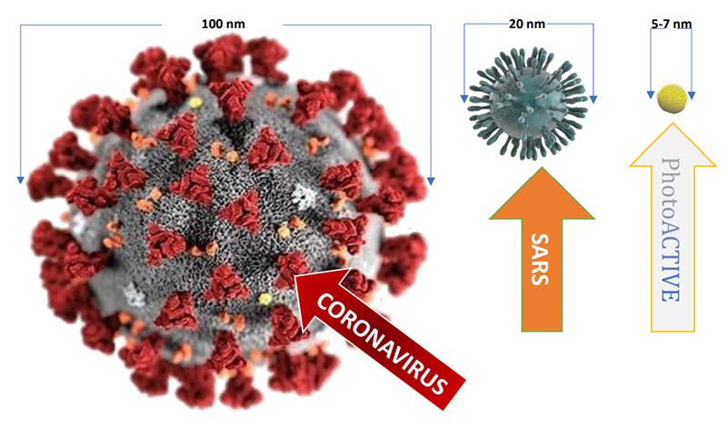 photoactive taille par rapport aux virus covid 19 et h1n1